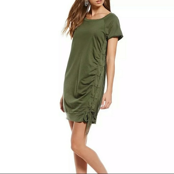 Sanctuary Anthro Olive Side Lace Up Sweater Dress